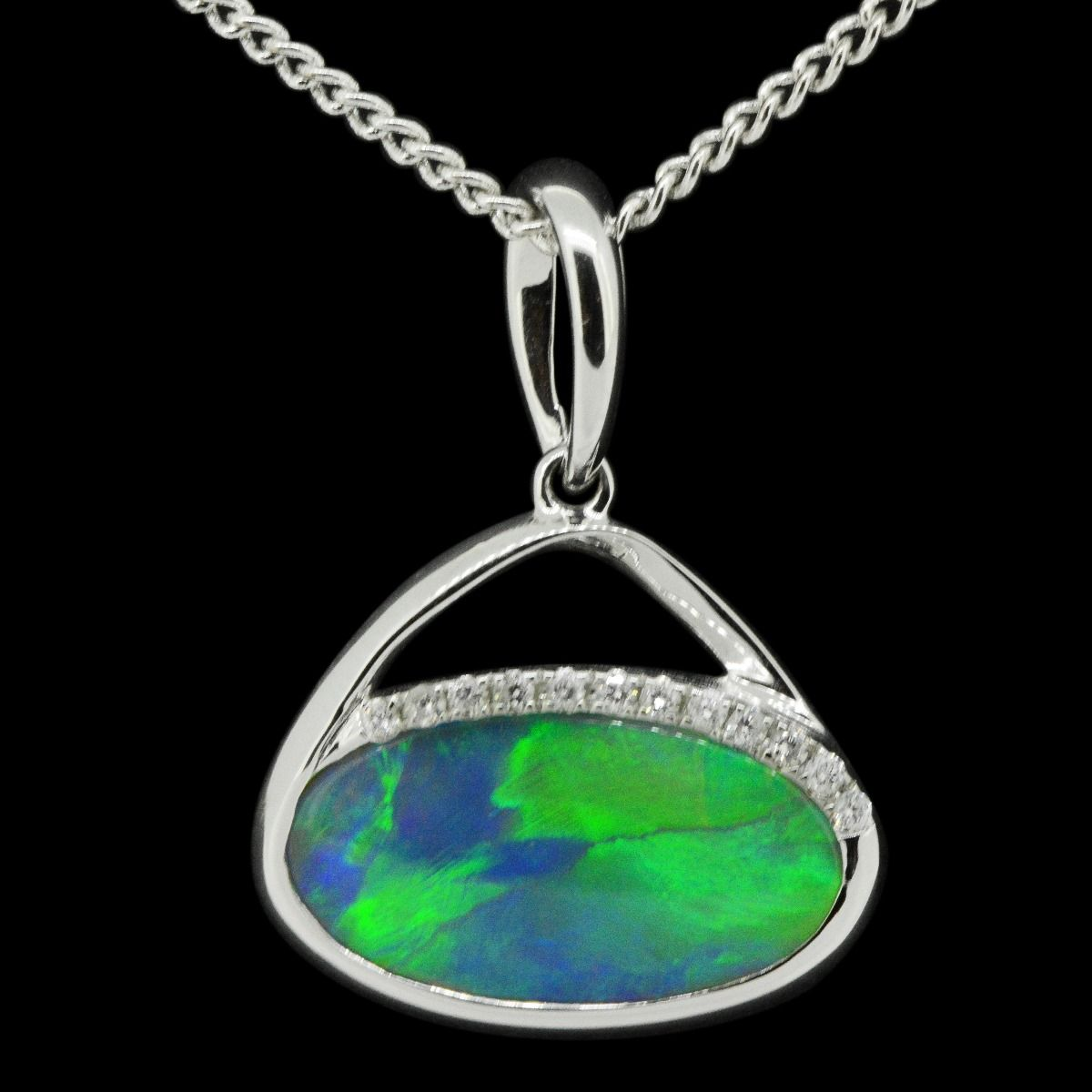 14ct white gold solid opal pendant (15mmx8mm)
