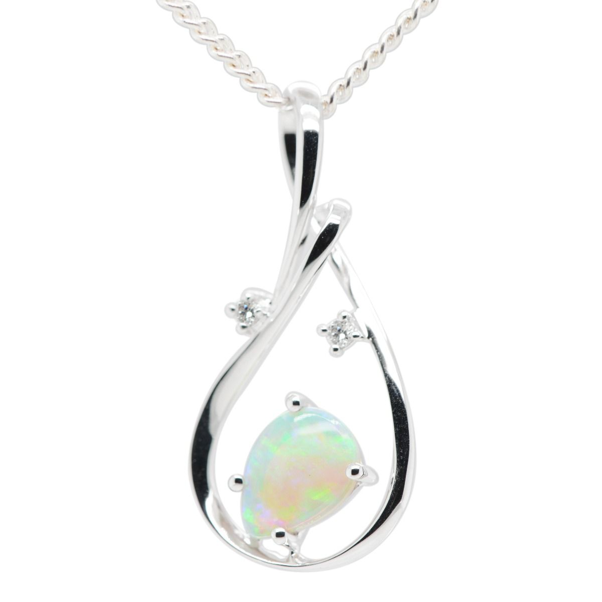 18ct White Gold Solid Crystal Opal Pendant
