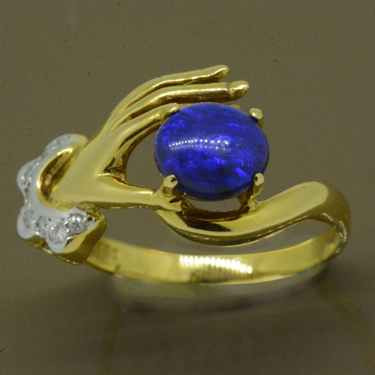 Solid Black Opal Hand Ring