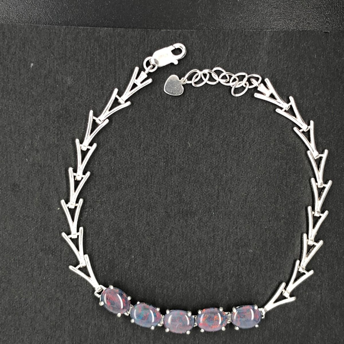 Sterling Silver Triplet Opal Bracelet (8x6)