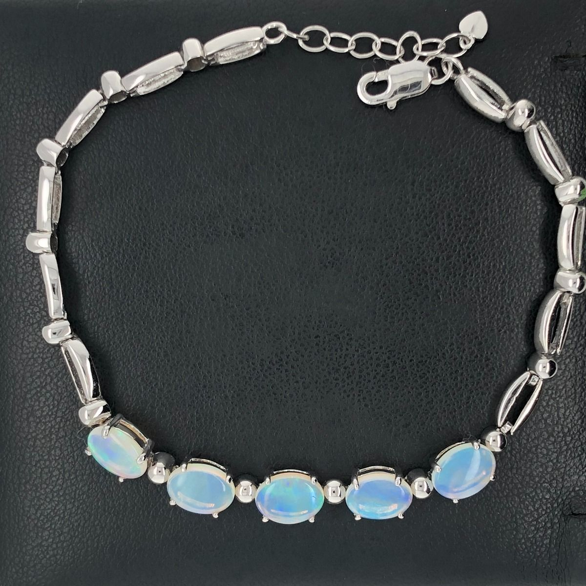 Sterling Silver Solid Opal Bracelet with 5 stones (8x6)