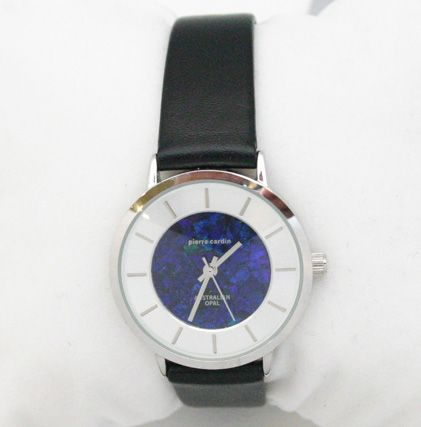 Ladies Pierre Cardin Silver Plated Opal Face Watch with Leather Band