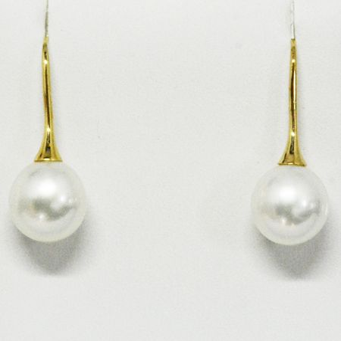 White South Sea Hook Pearl Earrings