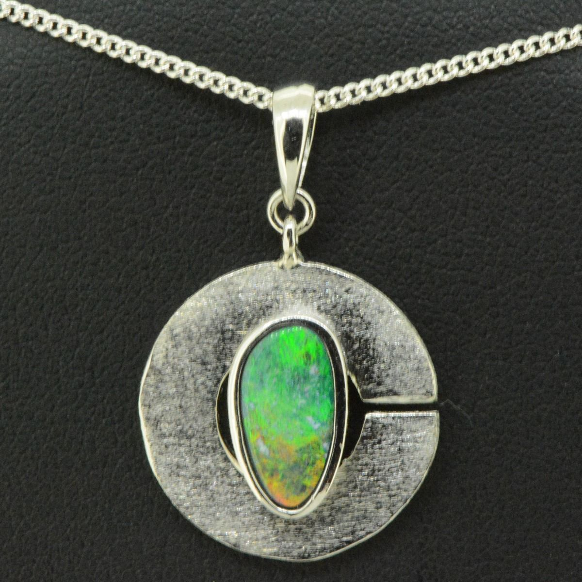 Sterling silver doublet opal pendant in the shape of C