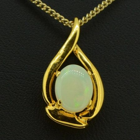 Yellow Gold Plated Sterling Silver  Claw Set Solid Opal Pendant