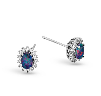 Sterling Silver Triplet Opal Earrings Surrounded by Crystals