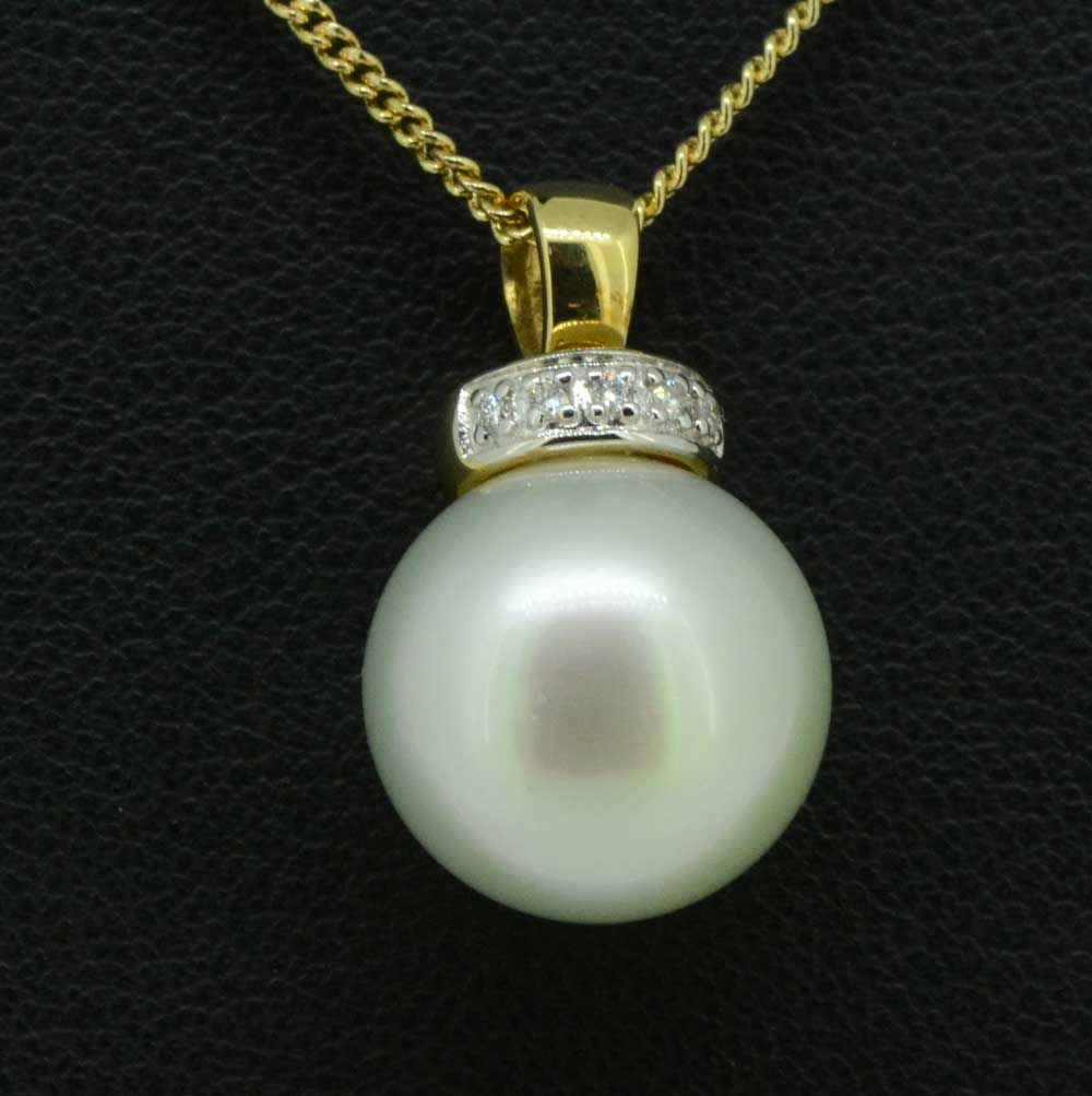 9ct yellow gold south sea pearl pendant