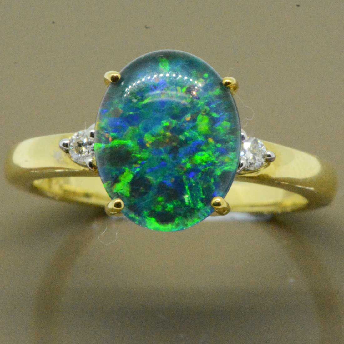 9ct Gold Triplet Opal Ring with 2 Brilliant Cut Diamonds