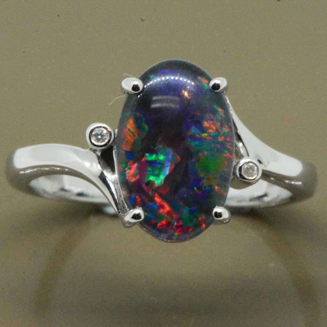 9ct White Gold Triplet Opal Ring with 2 Brilliant Diamonds