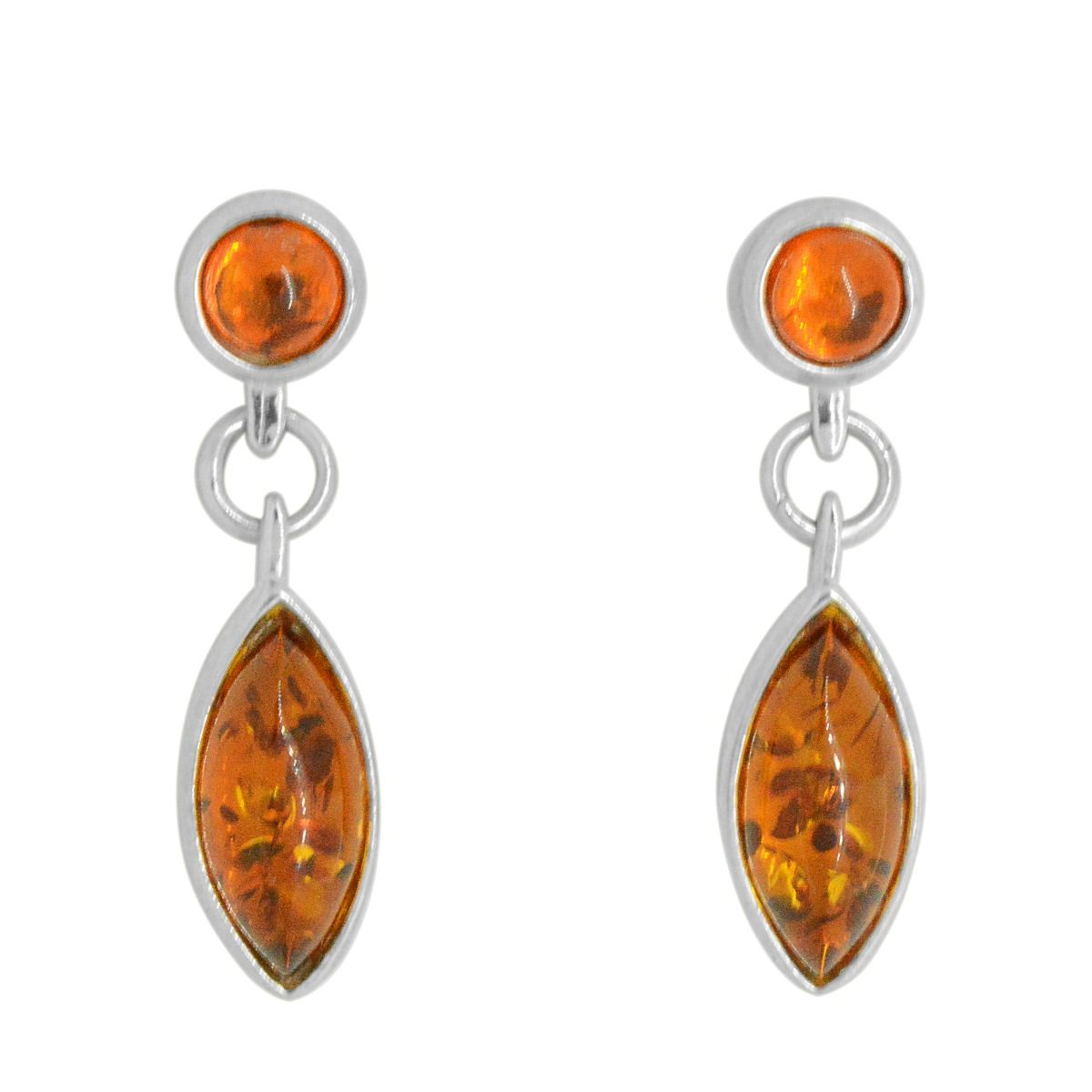 Silver Marquise Amber Earrings