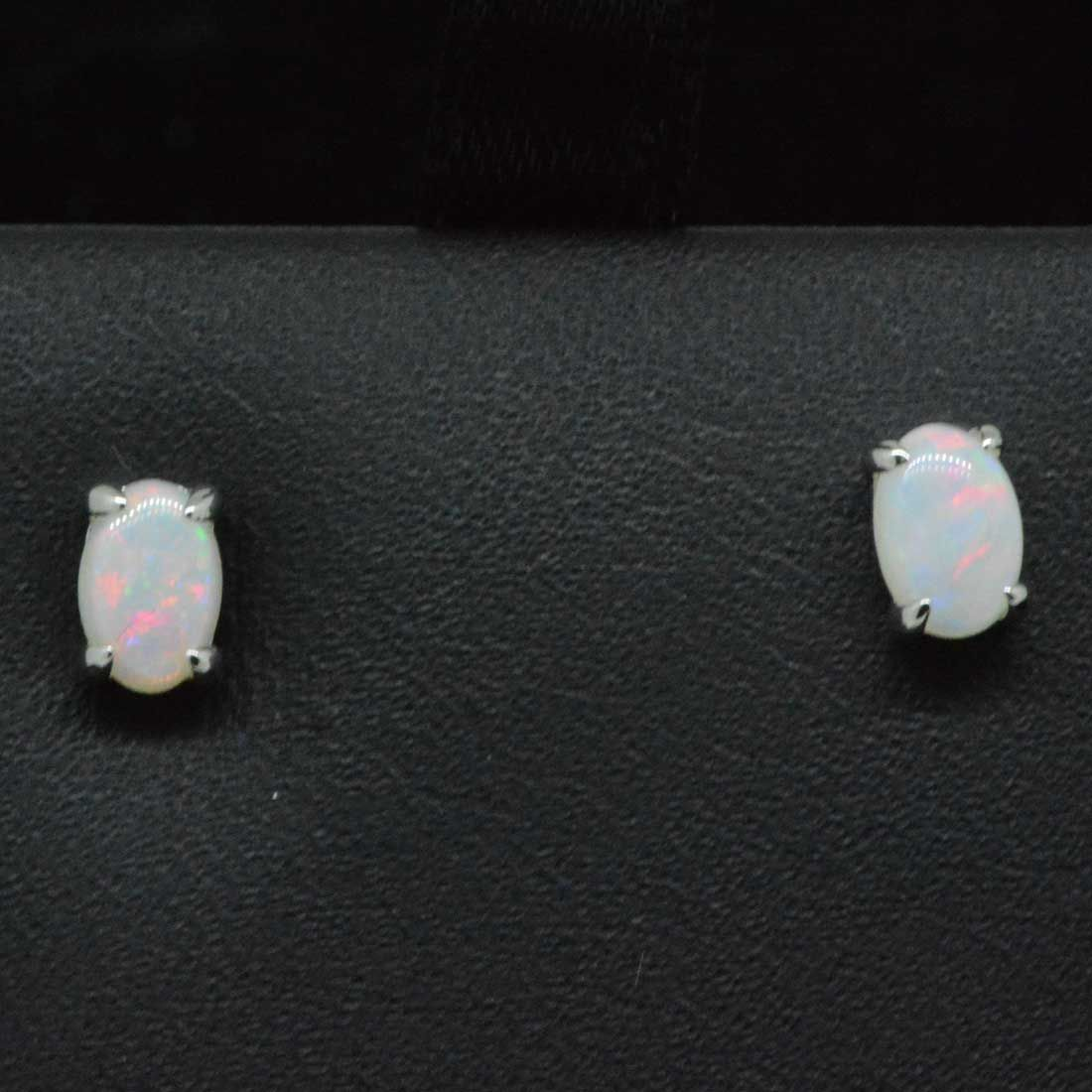 Solid opal earrings set in 9ct white gold 6x4