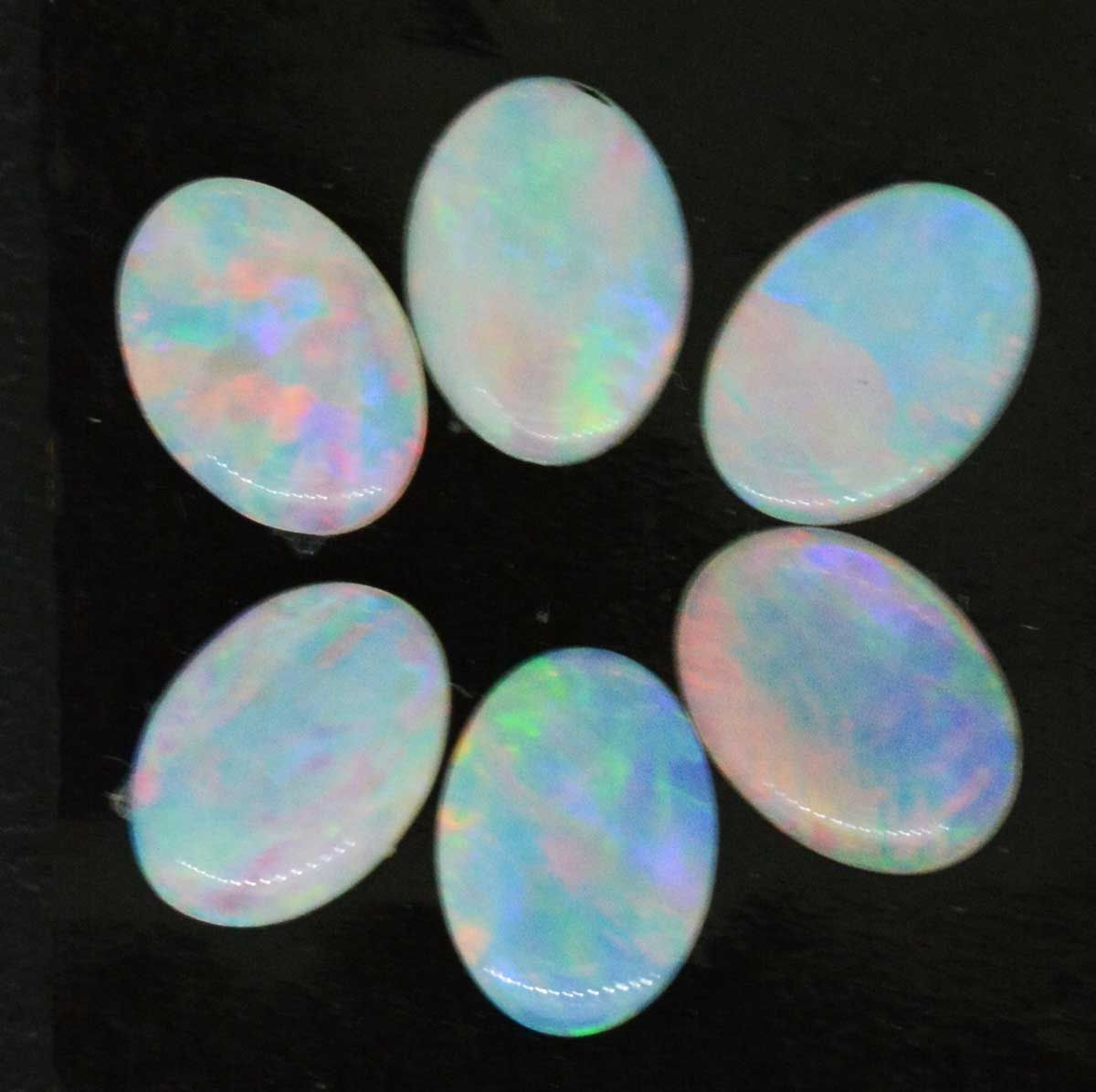 6 oval solid opals 1.71ct