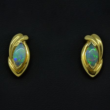 14ct Yellow Gold Solid Opal Earrings