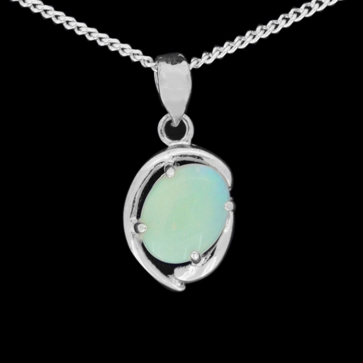 Sterling silver solid opal pendant 9mmx7mm