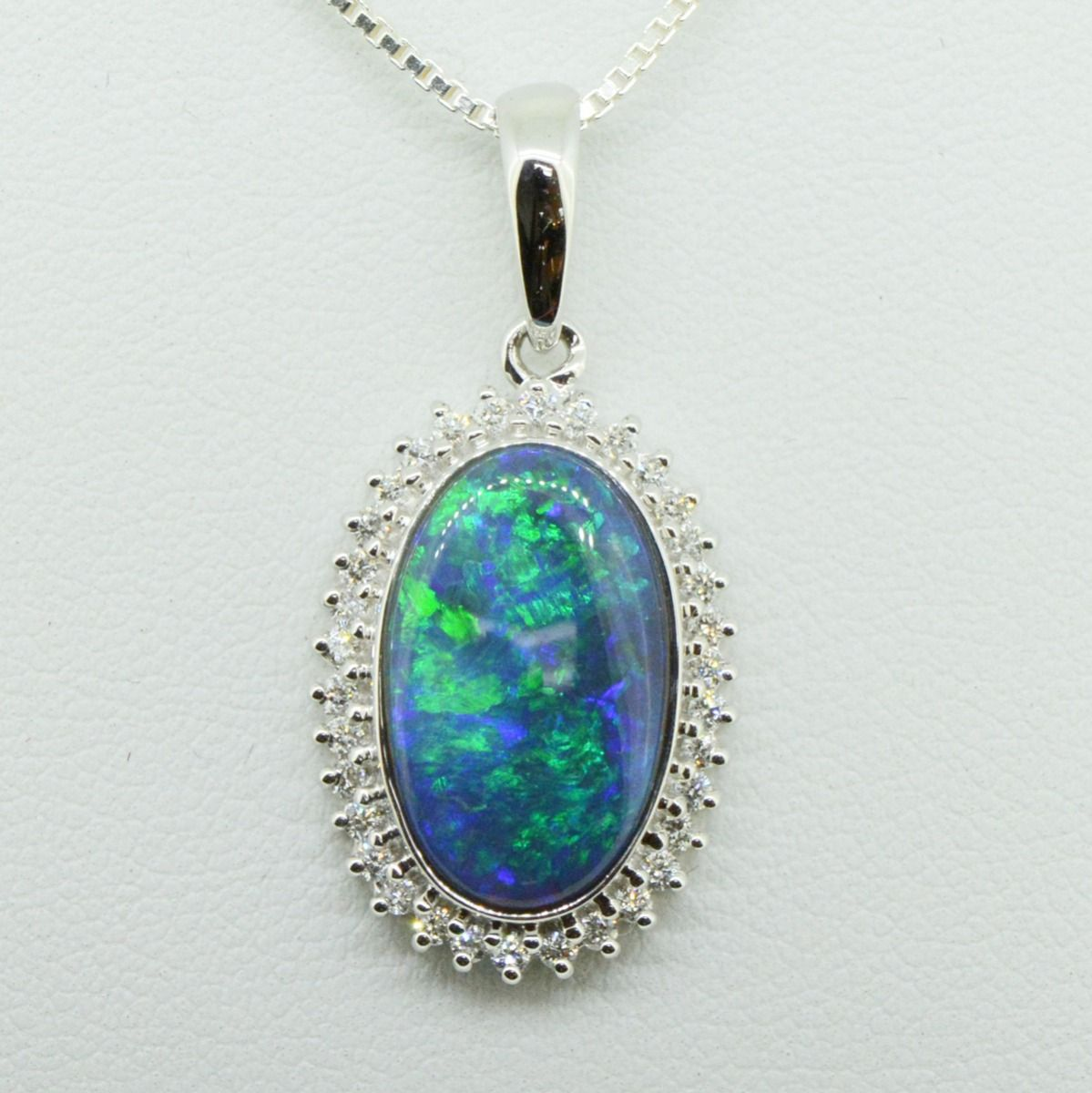 18ct White Gold Diamond Cluster Black Opal Pendant