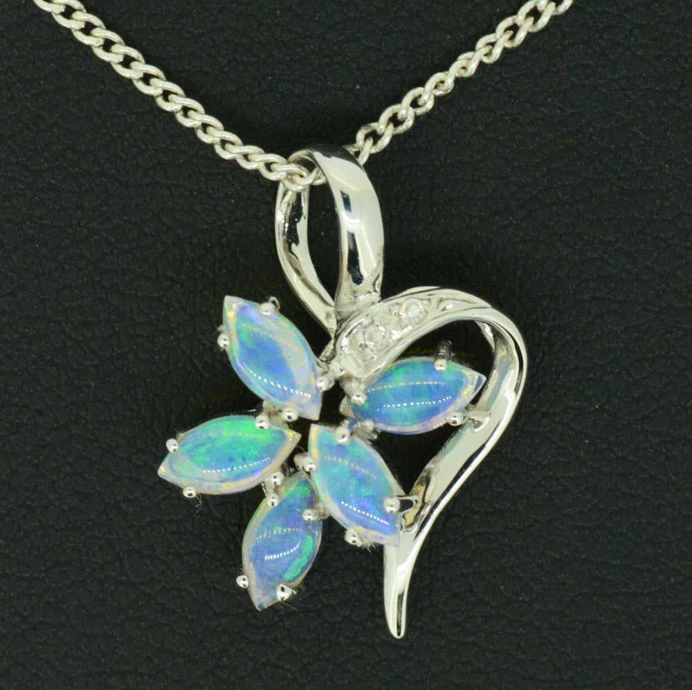14ct white gold solid opal pendant with 5 opals