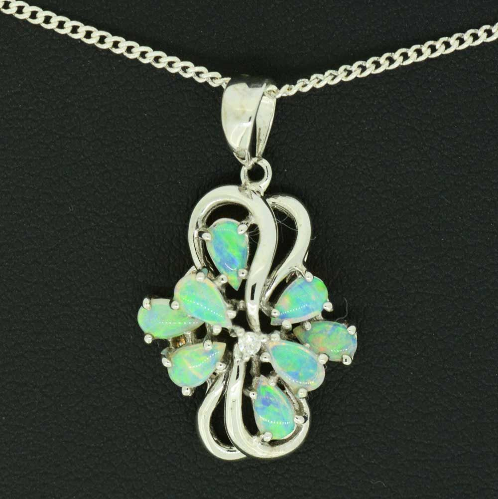 14ct white gold pendant with 8 opals