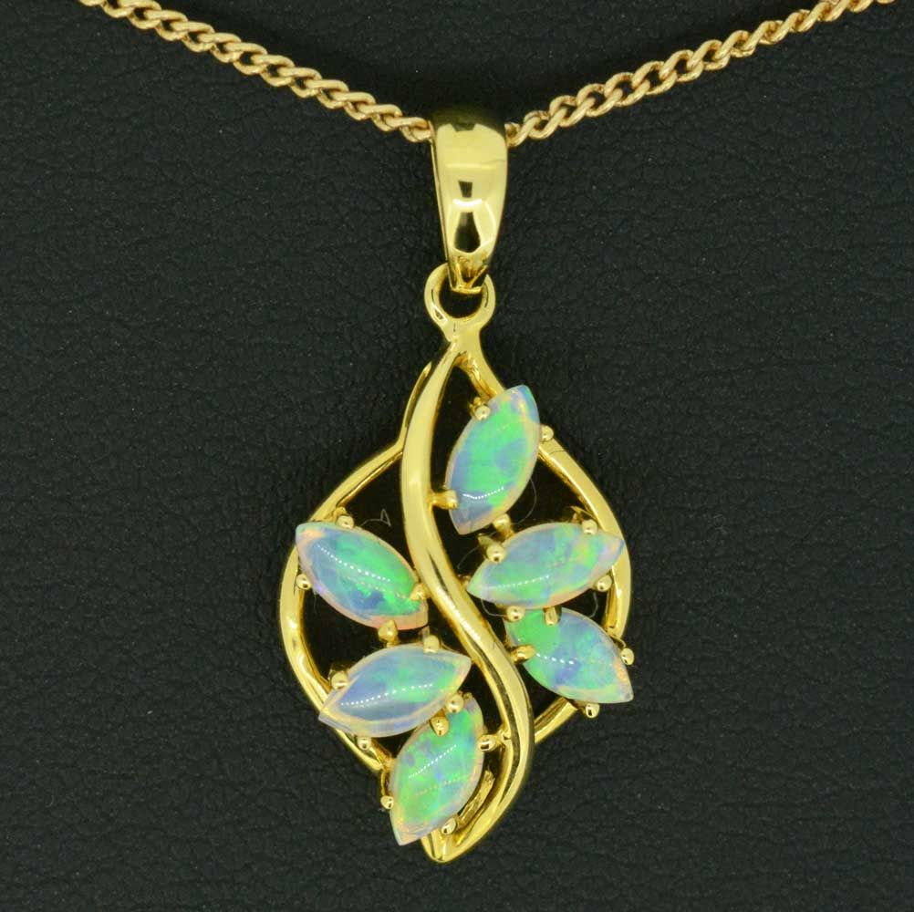 18ct yellow gold solid opal pendant with 6 opals
