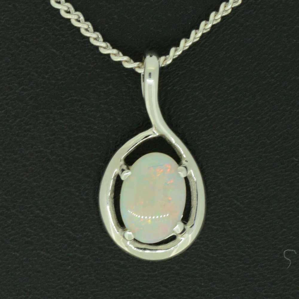 18ct White Gold Solid Opal Pendant