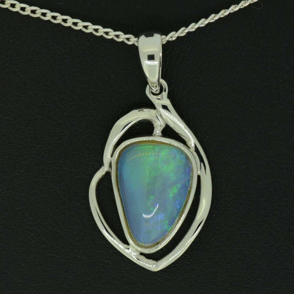 14ct White Gold Solid Crystal Opal Pendant