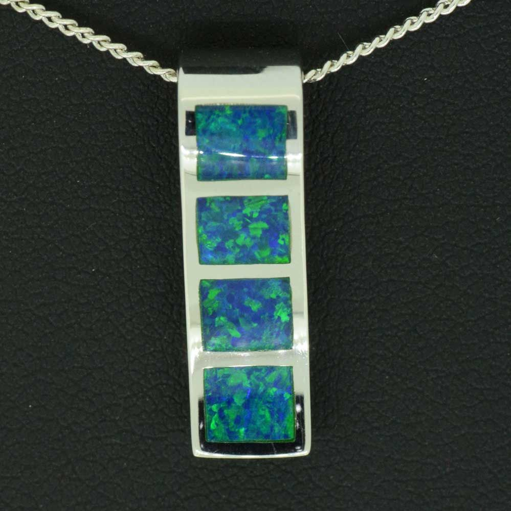 14ct white gold Solid 4 panel inlaid opal pendant