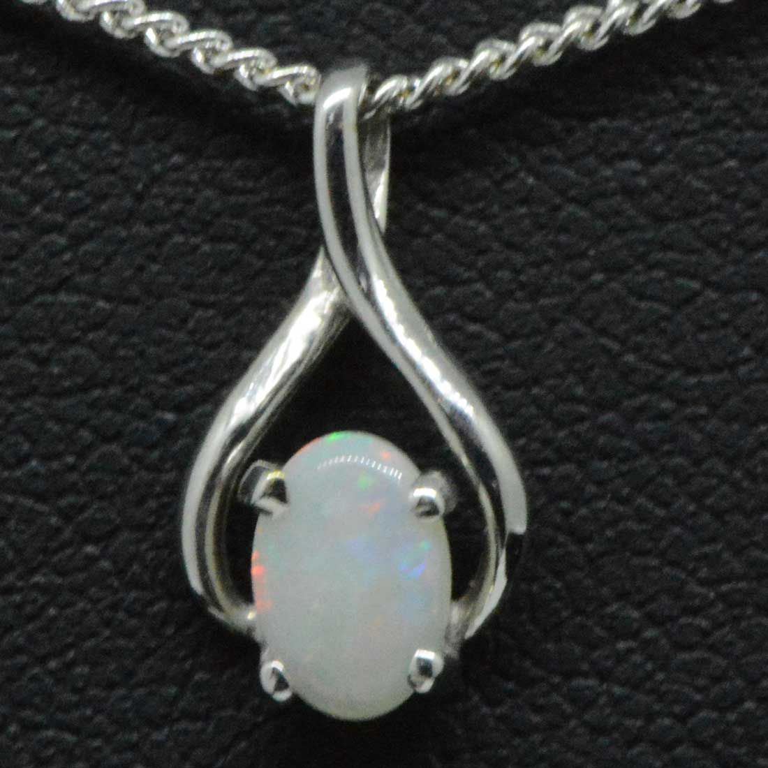 18ct white gold solid opal pendant (6mmx4mm)