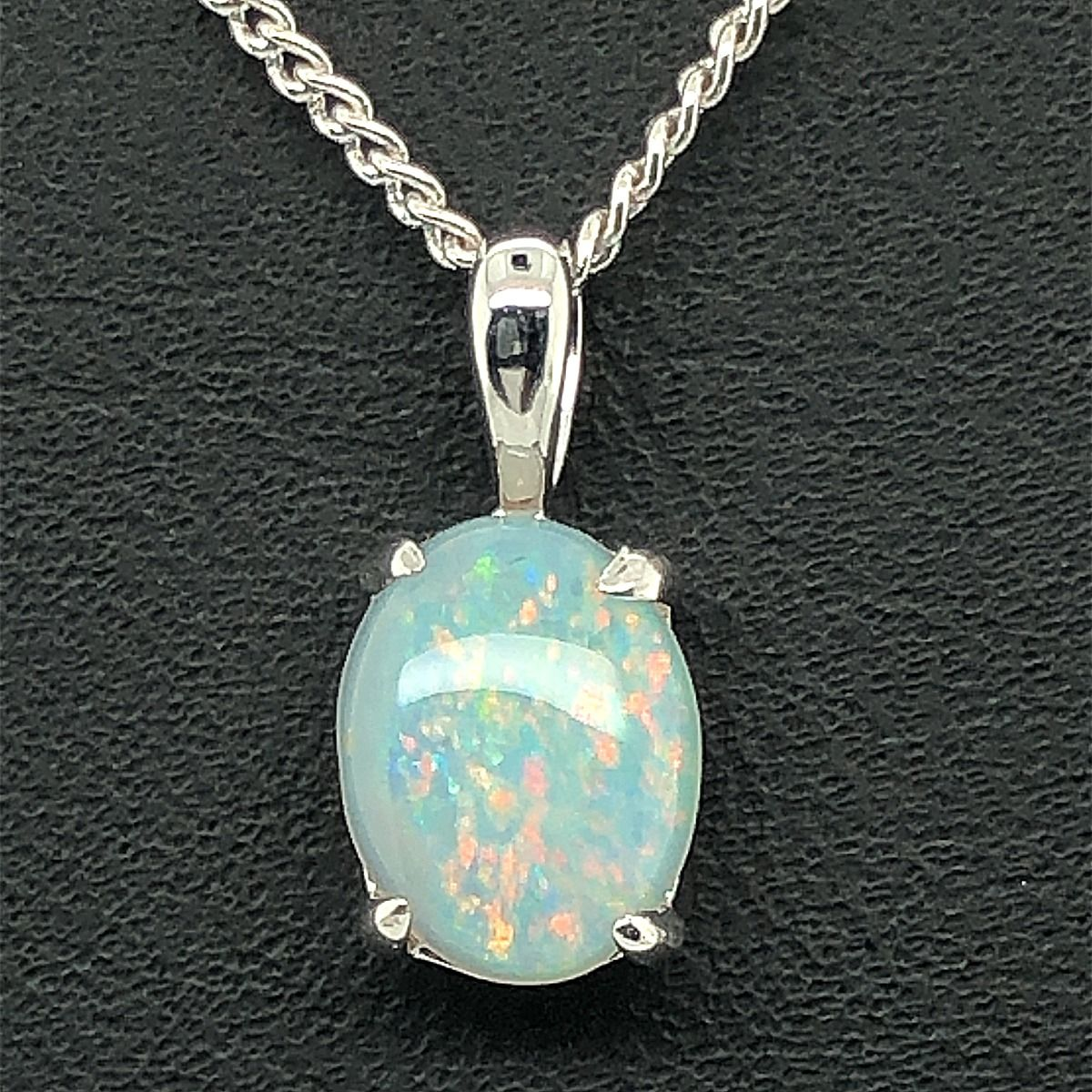 14ct White gold solid opal pendant (9mmx7mm)