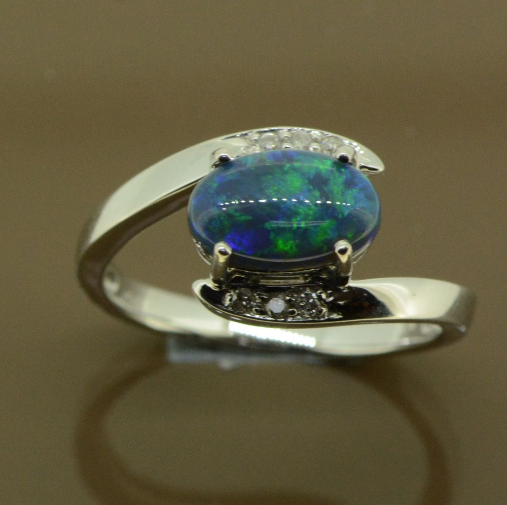 Ladies 18ct white gold solid black opal ring