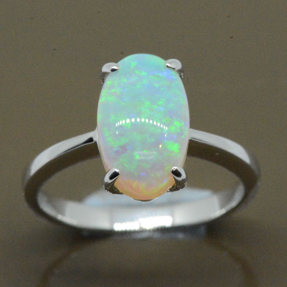 4 claw 18ct white gold solid opal ring