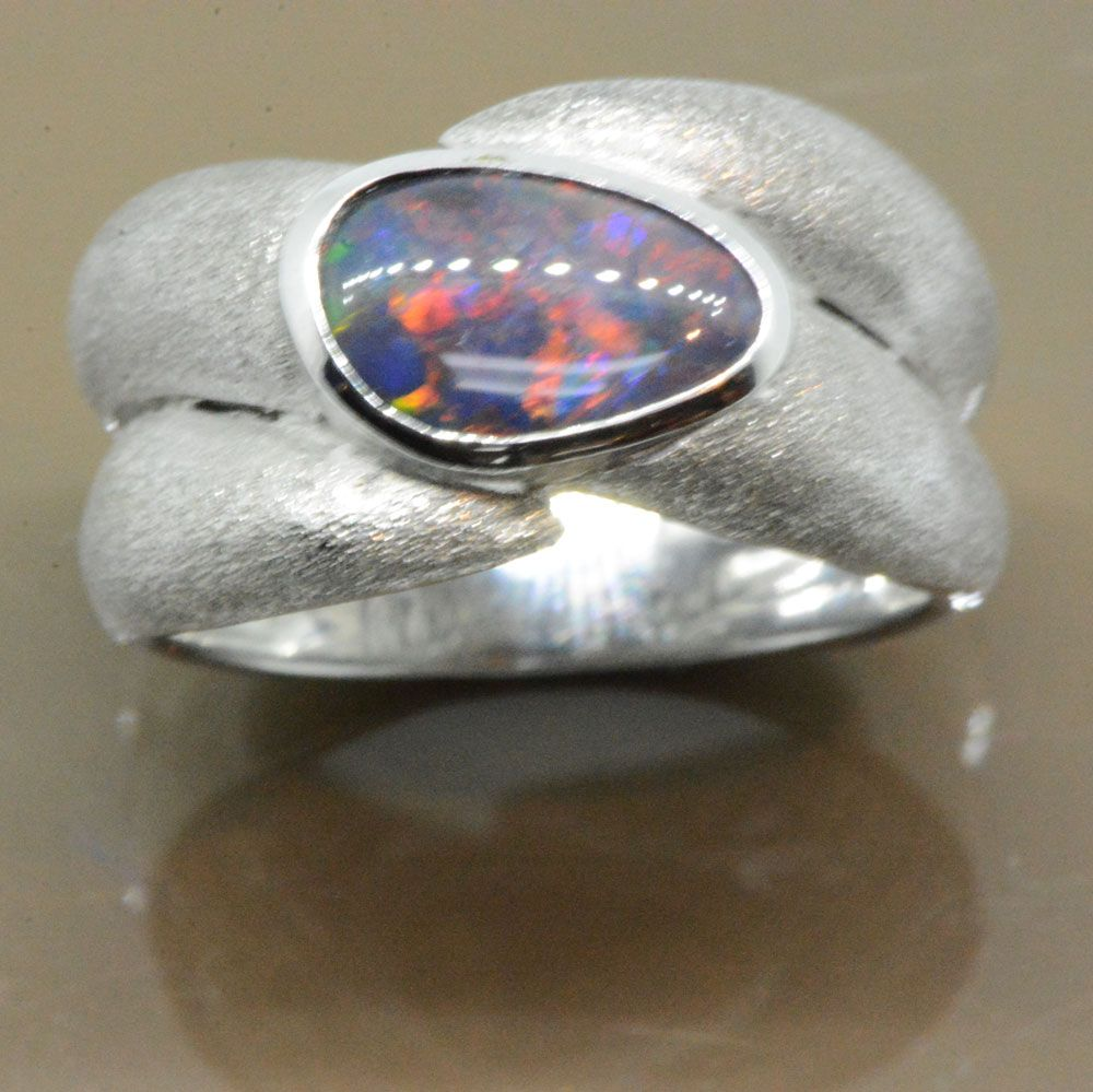 Black opal ring set in 18ct white gold