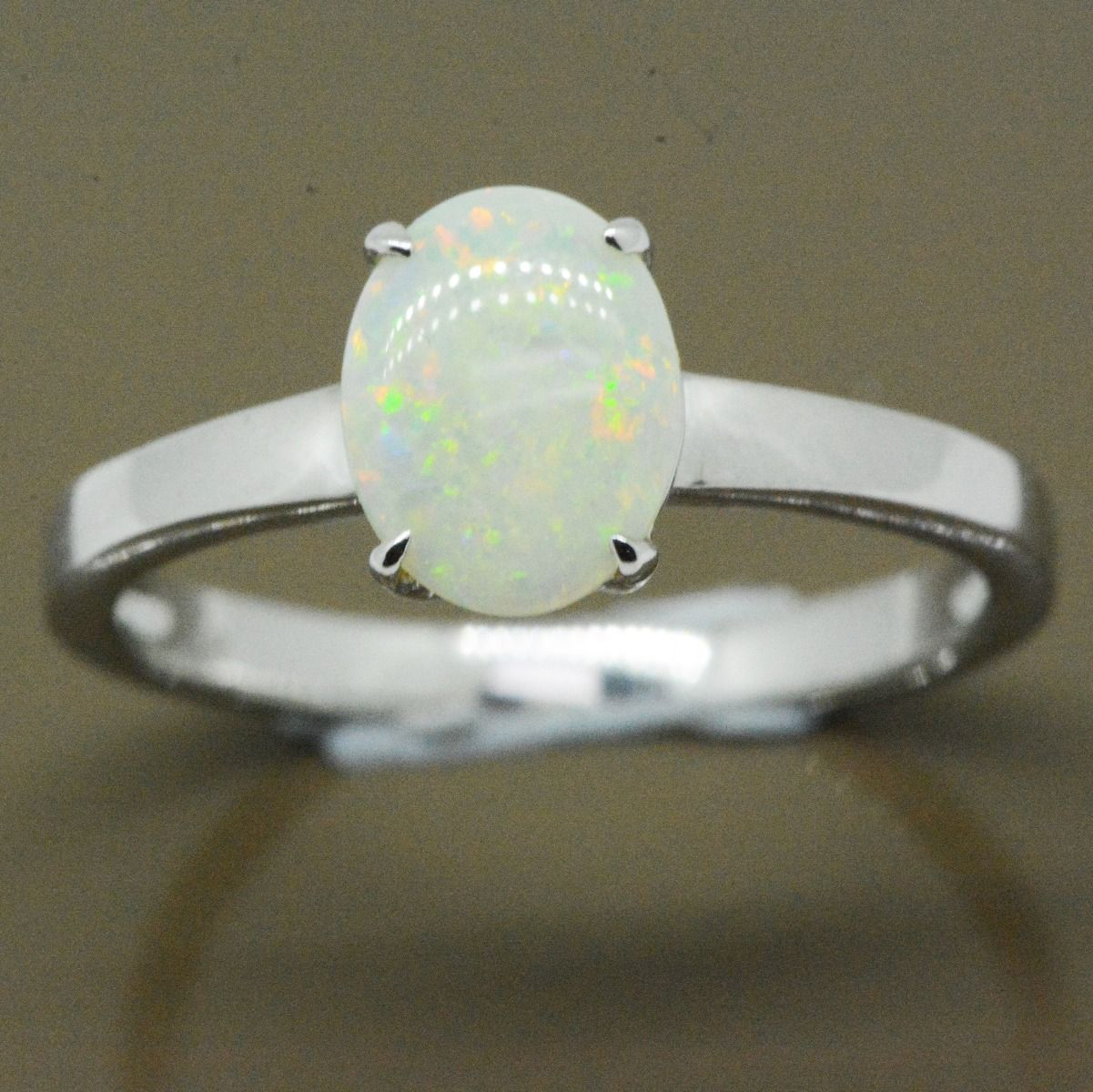 White Gold 14ct Solid Crystal Opal Ring