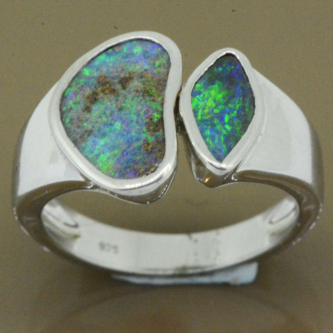 sterling silver boulder opal ring (12x8)