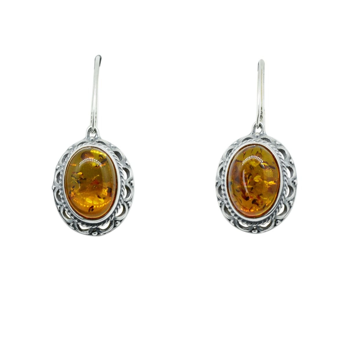 Sterling Silver Antique  Amber Earrings