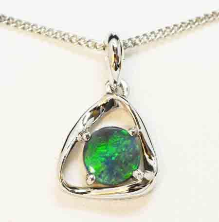 Sterling Silver Round Shaped Black Opal Pendant