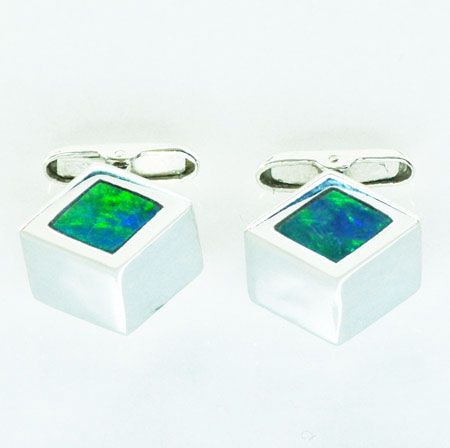 Diamond Shaped Sterling Silver Inlaid Opal Cufflinks
