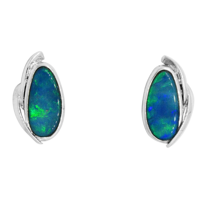 Sterling/Silver Freeform Doublet Opal Earrings