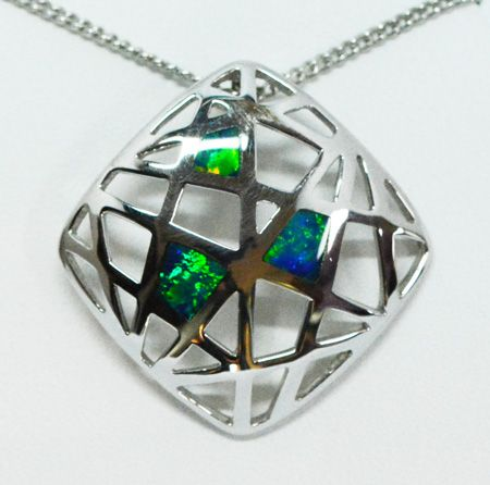 Sterling Silver Inlaid Opal Pendant With Three Opal Panels