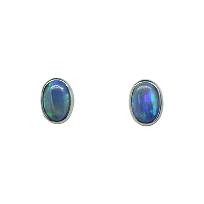 Sterling Silver Solid Black Opal Earrings