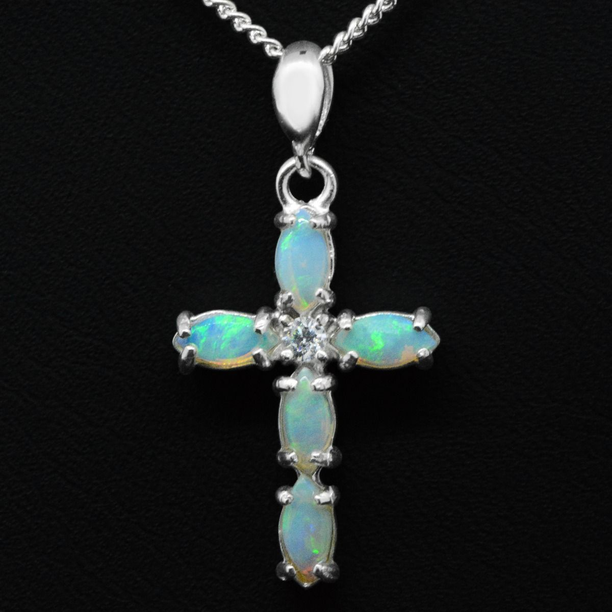 Sterling Silver Solid Opal Cross Pendant
