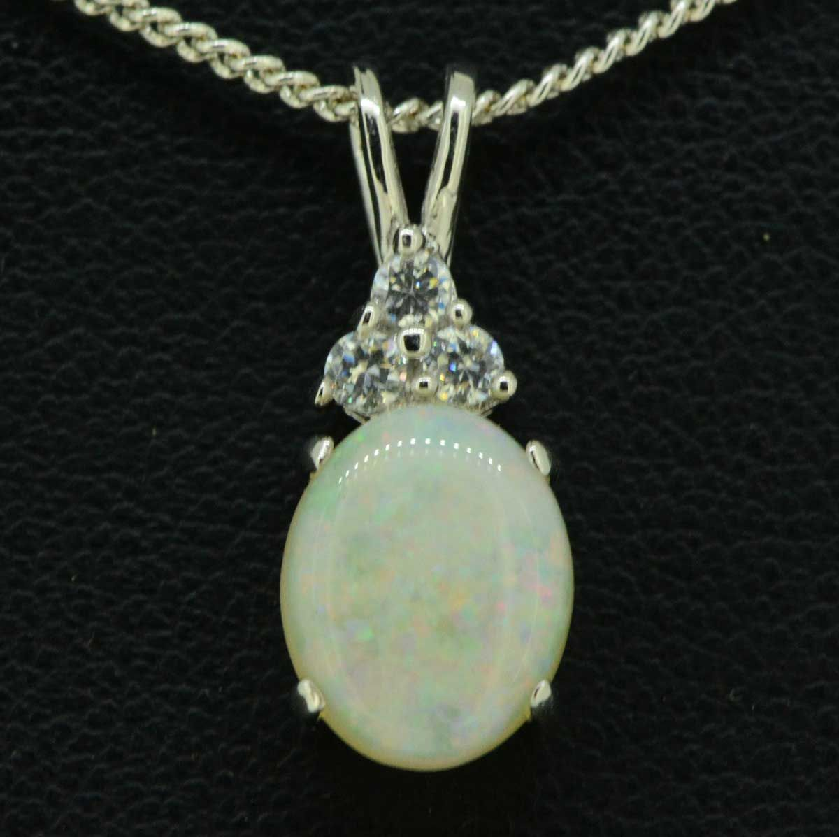 STERLING SILVER SOLID OPAL with 3 Crystals PENDANT (10mmx8mm)
