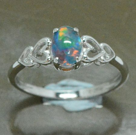 Ladies Sterling Silver Triplet Opal Heart Ring