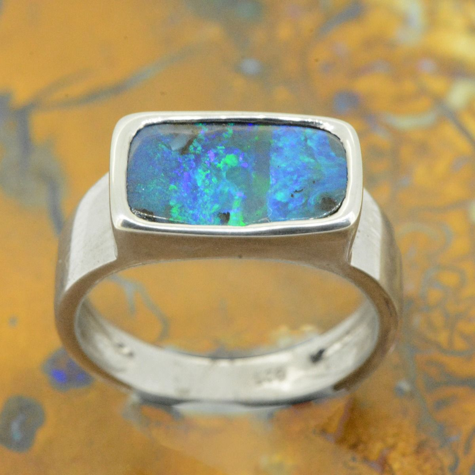 Sterling Silver Solid Boulder Opal Ring