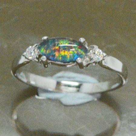 Sterling Silver Triplet Opal Ring Set with 2 Crystals