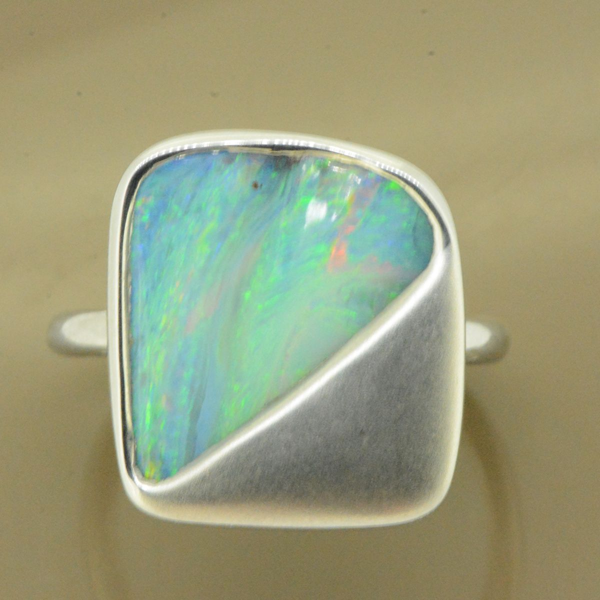 Sterling Silver Solid Boulder Opal Ring (15x14)