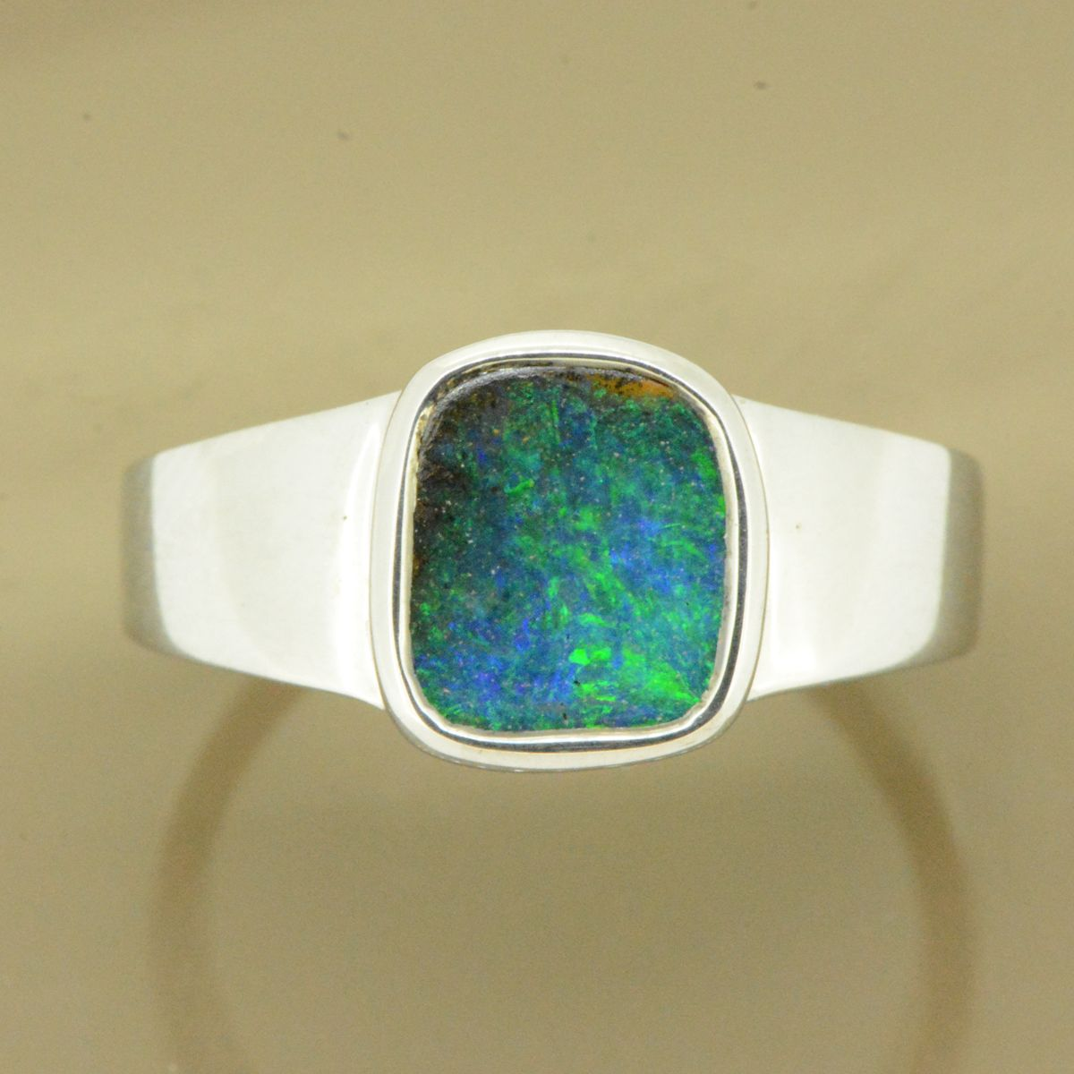 Sterling Silver Solid Boulder Opal Ring (9x8)