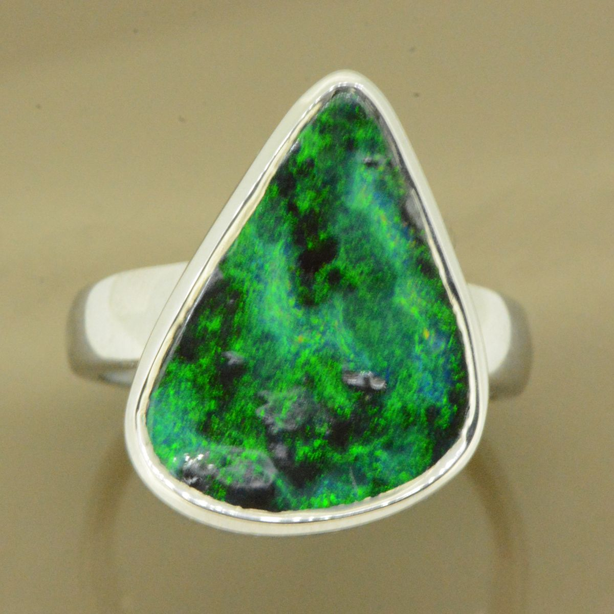 Sterling Silver Solid Boulder Opal Ring (19x14)