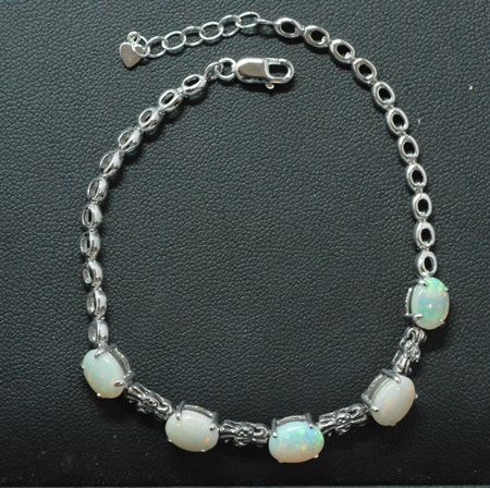 Sterling Silver Claw Set Solid Opal Bracelet, With 5 Solid Opals