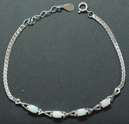 Sterling Silver Solid Opal Bracelet, Set With 4 Opals