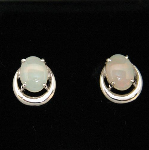 Sterling Silver Solid Stud Opal Earrings