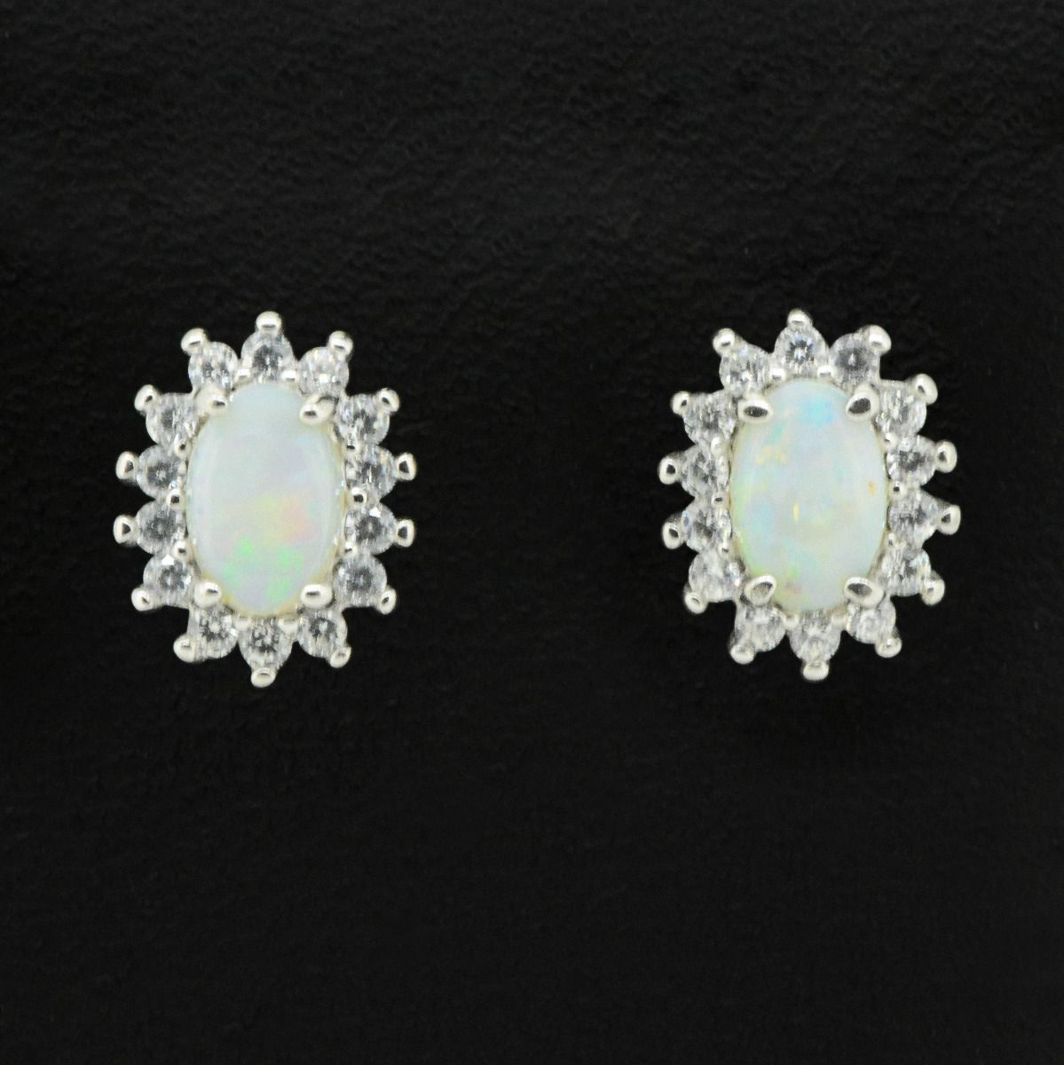 Sterling Silver Solid Opal Earrings With Crystals